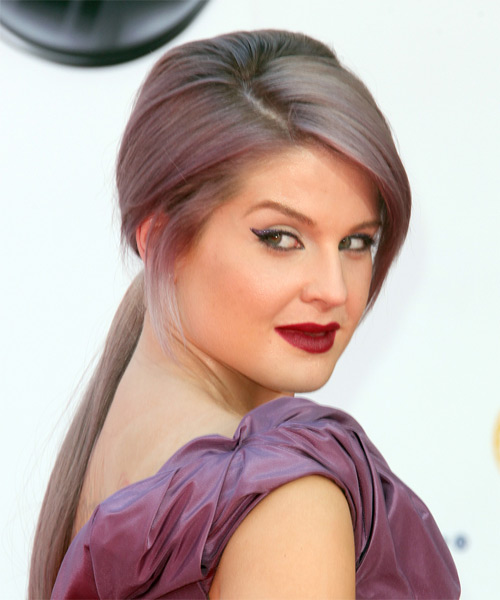Kelly Osbourne Updo Long Straight Casual  Updo Hairstyle   - Purple - Side on View
