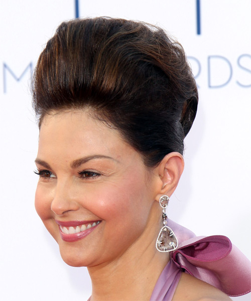 Updo Long Straight Formal Updo  - Dark Brunette - Side on View