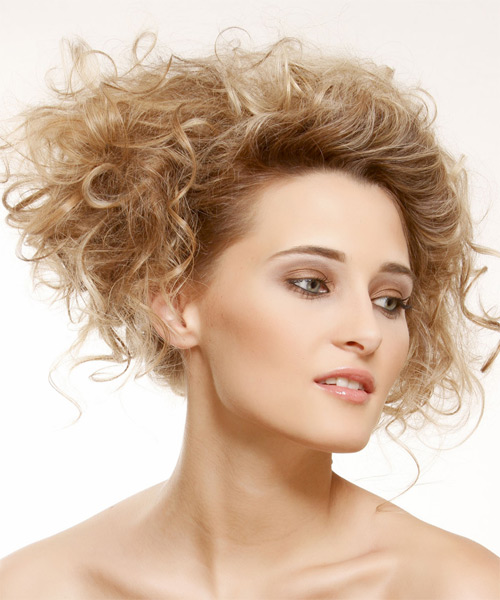 Medium Curly Casual   Updo Hairstyle   - Dark Golden Blonde Hair Color with Light Blonde Highlights - Side on View