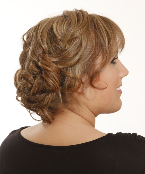 Long Straight Formal   Updo Hairstyle with Blunt Cut Bangs  -  Caramel Brunette Hair Color with  Blonde Highlights - Side on View