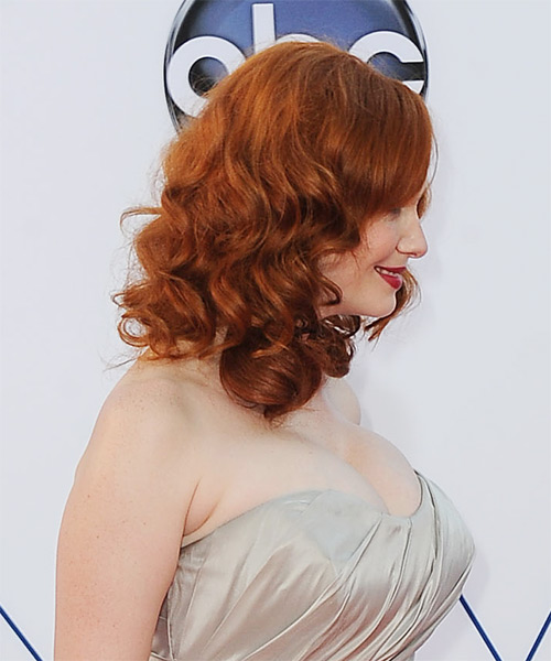 Christina Hendricks Medium Wavy Casual   Hairstyle   (Ginger) - Side on View