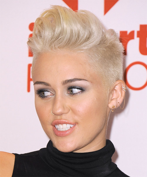 Miley Cyrus Short Straight Alternative   Hairstyle   - Light Blonde (Platinum) - Side on View
