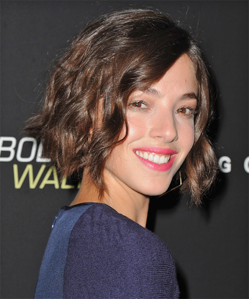 Olivia Thirlby Short Wavy Casual Bob  Hairstyle   - Dark Brunette - Side on View