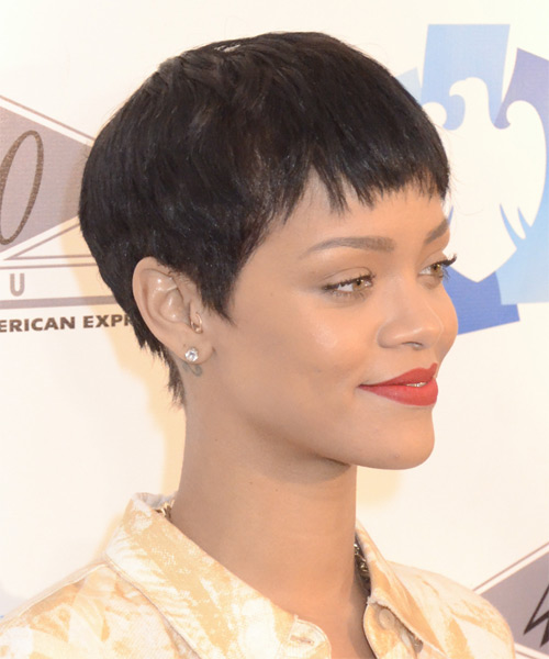 Rihanna Short Straight Casual Pixie  Hairstyle with Layered Bangs  - Dark Brunette - Side on View