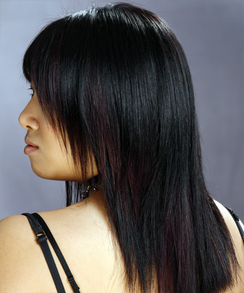 Long Straight Casual   Hairstyle with Layered Bangs  - Black - Side on View