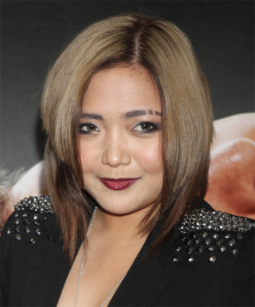 Charice Medium Straight Alternative    Hairstyle   - Light Brunette and Dark Brunette Two-Tone Hair Color - Side on View