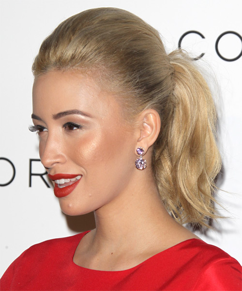 Christian Serratos  Long Straight Casual   Updo Hairstyle   - Dark Blonde Hair Color - Side on View