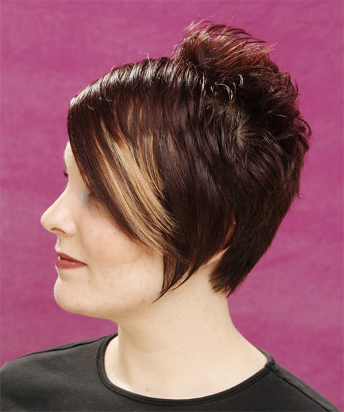 Short Straight Alternative   Hairstyle   - Medium Brunette (Mocha) - Side on View