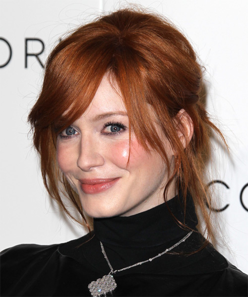 Christina Hendricks  Long Straight   Dark Copper Red  Updo  with Side Swept Bangs  - Side on View