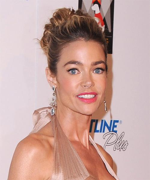 Denise Richards Updo Long Curly Formal Wedding Updo Hairstyle   - Dark Brunette (Mocha) - Side on View