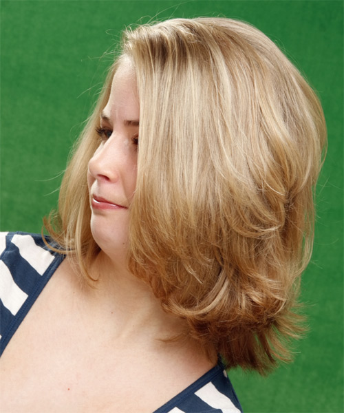 Medium Straight    Golden Blonde   Hairstyle   with Light Blonde Highlights - Side on View