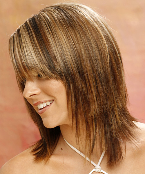 Long Straight Casual   Hairstyle with Side Swept Bangs  - Light Brunette (Golden) - Side on View