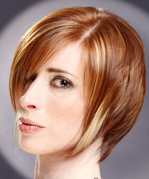 Short Straight Casual    Hairstyle with Side Swept Bangs  - Light Ginger Red Hair Color with Medium Blonde Highlights - Side on View
