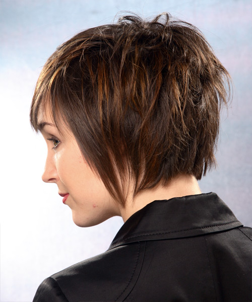 Short Straight Formal   Hairstyle with Side Swept Bangs  (Chocolate) - Side on View