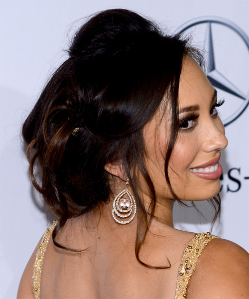 Cheryl Burke Updo Long Curly Formal Wedding Updo Hairstyle   - Medium Brunette (Mocha) - Side on View