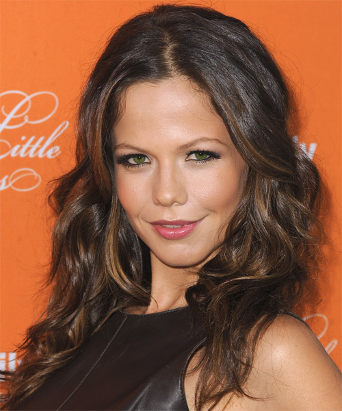 Tammin Sursok Long Wavy Casual   Hairstyle   - Medium Brunette (Auburn) - Side on View