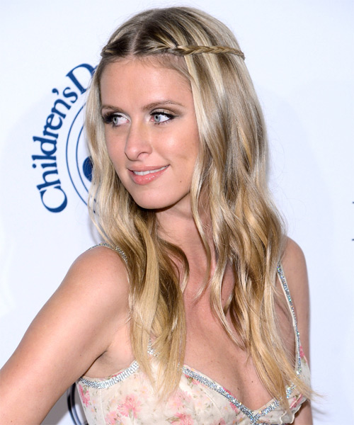 Nicky HIlton Long Straight Casual Braided  Hairstyle   - Light Blonde (Champagne) - Side on View