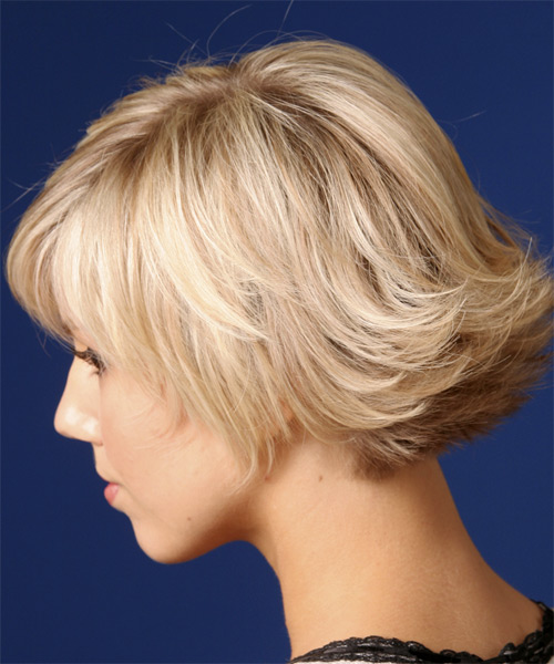 Short Straight Casual    Hairstyle   - Light Strawberry Blonde Hair Color - Side on View