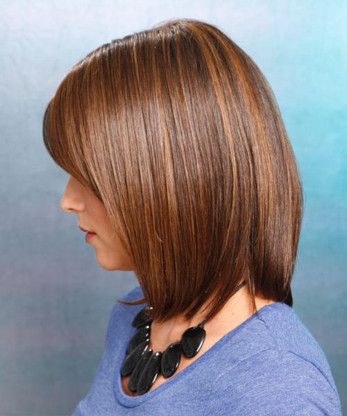 Medium Straight Casual Bob  Hairstyle   - Medium Brunette (Chestnut) - Side on View