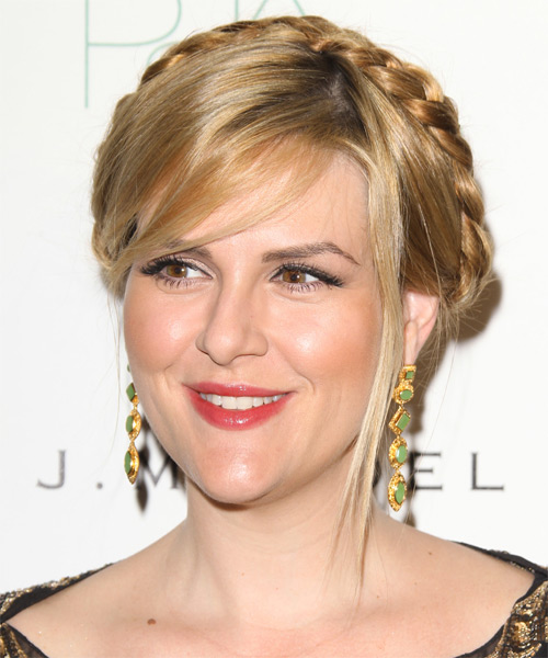 Sara Rue Updo Long Straight Casual Braided Updo Hairstyle with Side Swept Bangs  - Dark Blonde - Side on View
