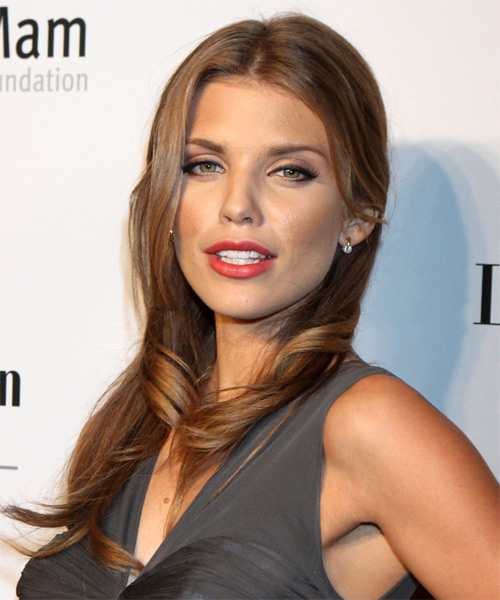AnnaLynne McCord Long Straight Casual   Hairstyle   - Medium Brunette (Chestnut) - Side on View