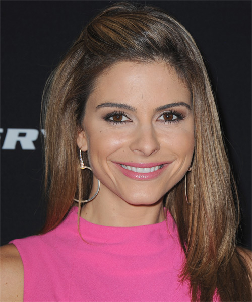 Maria Menounos Long Straight Formal   Hairstyle   - Medium Brunette (Chocolate) - Side on View