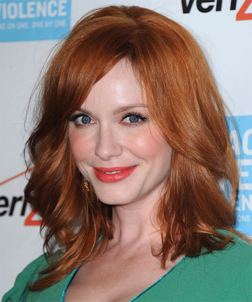 Christina Hendricks Medium Straight Casual   Hairstyle with Side Swept Bangs  - Medium Red (Copper) - Side on View