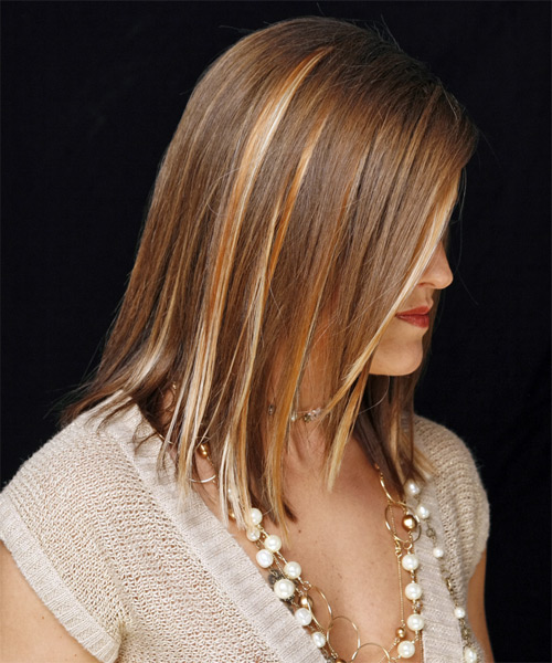 Long Straight Formal   Hairstyle   - Medium Brunette (Golden) - Side on View