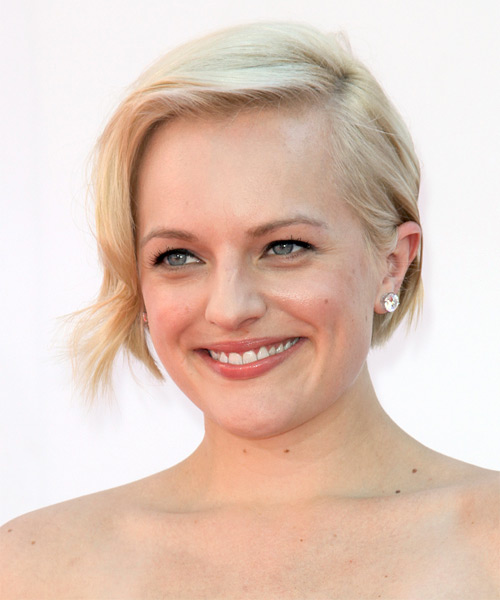 Elisabeth Moss Short Straight Layered  Light Blonde Bob  Haircut   - Side on View