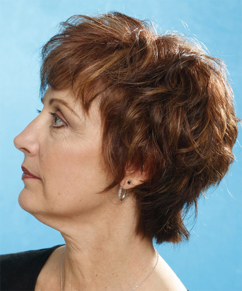 Short Wavy Casual    Hairstyle   - Medium Chestnut Brunette Hair Color - Side on View