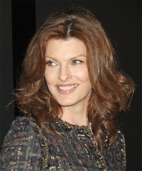 Linda Evangelista Medium Wavy Formal   Hairstyle   - Medium Brunette (Chestnut) - Side on View