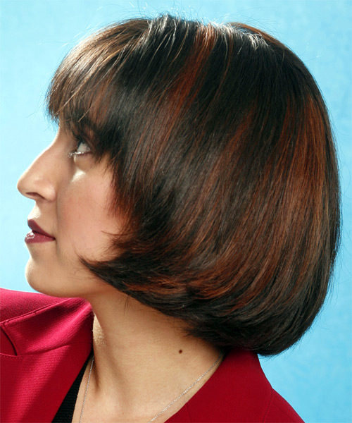 Medium Straight     Hairstyle   - Side on View