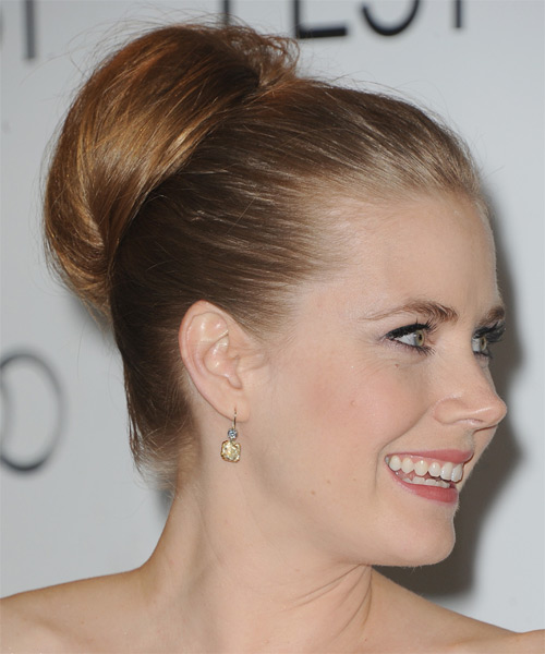 Amy Adams  Long Straight Formal   Updo Hairstyle   - Light Caramel Brunette Hair Color - Side on View