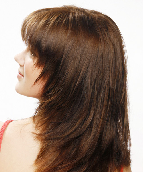 Long Straight Casual    Hairstyle with Layered Bangs  - Dark Mocha Brunette Hair Color - Side on View