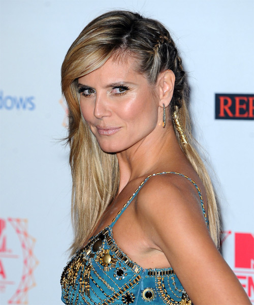Heidi Klum  Long Straight Casual  Braided Half Up Hairstyle with Side Swept Bangs  - Medium Golden Blonde Hair Color with Light Blonde Highlights - Side on View