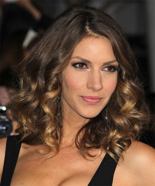 Dawn Olivieri Medium Curly    Golden Brunette   Hairstyle   with Dark Blonde Highlights - Side on View