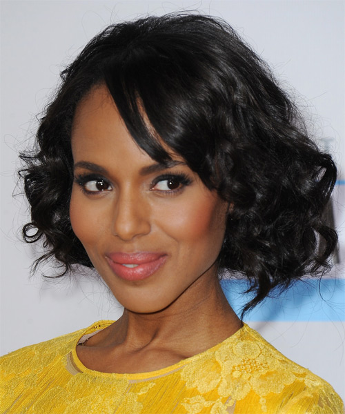 Kerry Washington Medium Curly Casual Bob  Hairstyle with Side Swept Bangs  - Black - Side on View