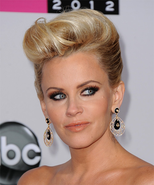 Jenny McCarthy  Long Straight Formal   Updo Hairstyle   -  Golden Blonde Hair Color with Light Blonde Highlights - Side on View