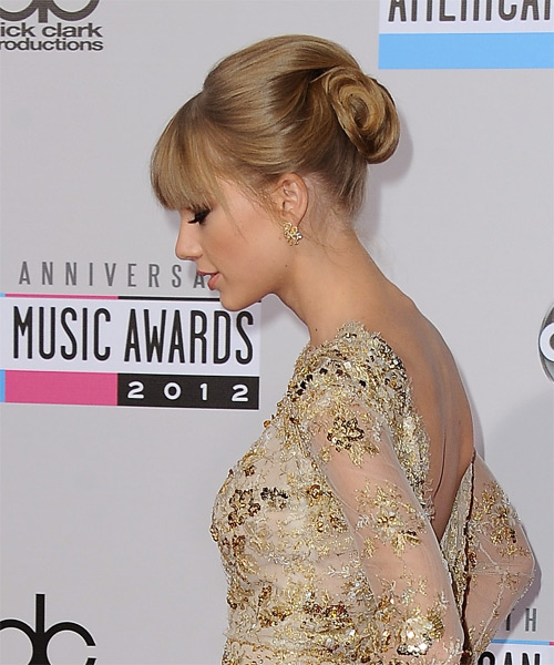 Taylor Swift  Long Straight   Light Caramel Brunette  Updo  with Blunt Cut Bangs  - Side on View