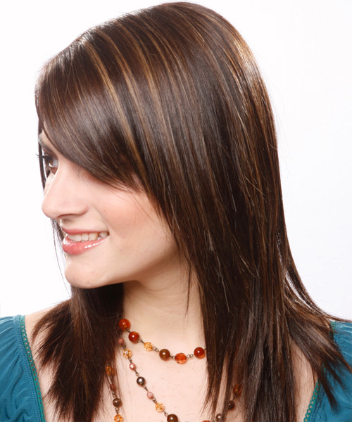 Long Straight   Dark Chocolate Brunette   Hairstyle with Side Swept Bangs  - Side on View