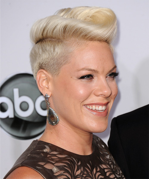 Pink Short Straight Alternative Undercut  Hairstyle   - Light Blonde - Side on View