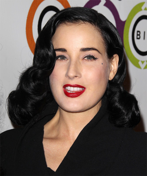 Dita Von Teese Medium Wavy Formal   Hairstyle   - Side on View