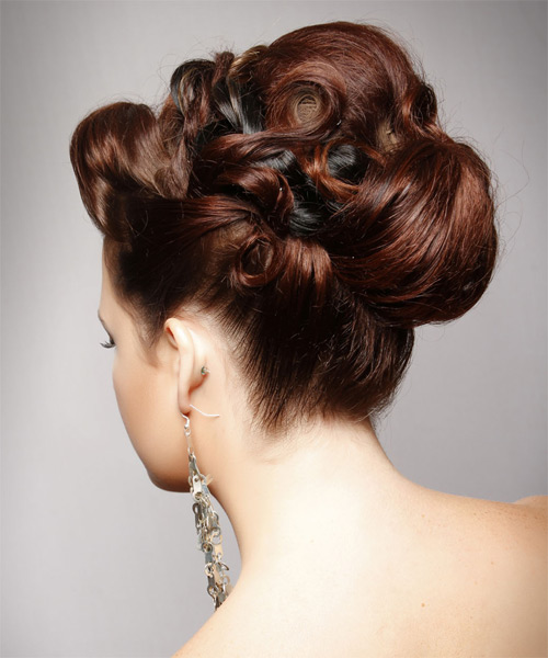 Long Straight Formal   Updo Hairstyle   -  Mahogany Brunette Hair Color - Side on View