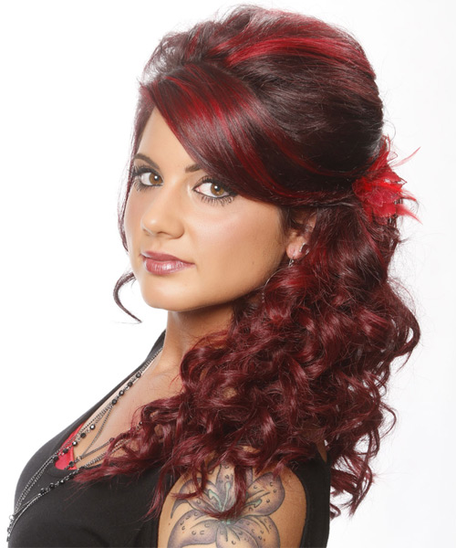 Long Curly Formal   Updo Hairstyle with Side Swept Bangs  - Dark Red Hair Color with Light Red Highlights - Side on View