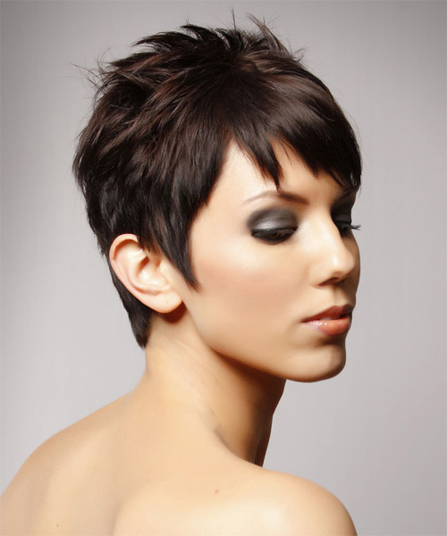 Short Straight Casual    Hairstyle   - Chocolate Hair Color - Side on View