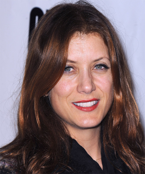 Kate Walsh Long Straight Casual   Hairstyle   - Dark Red - Side on View