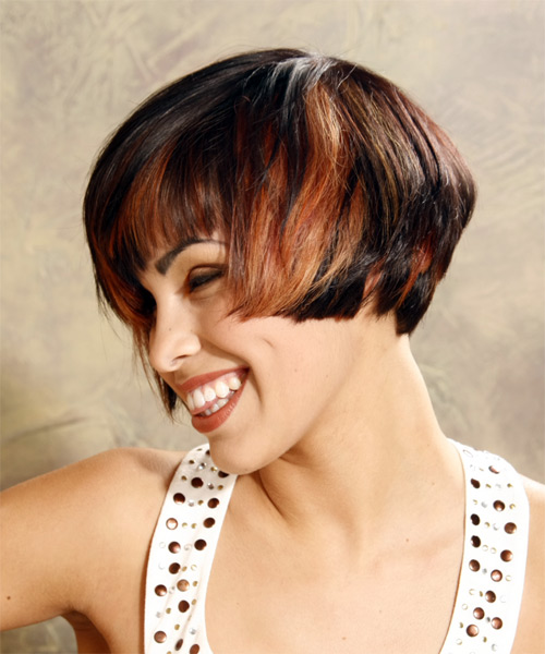 Medium Straight Alternative    Hairstyle with Side Swept Bangs  - Black  and Orange Two-Tone Hair Color - Side on View