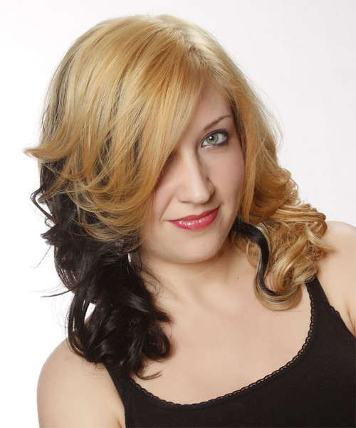 Medium Wavy Formal   Hairstyle   - Medium Blonde (Golden) - Side on View