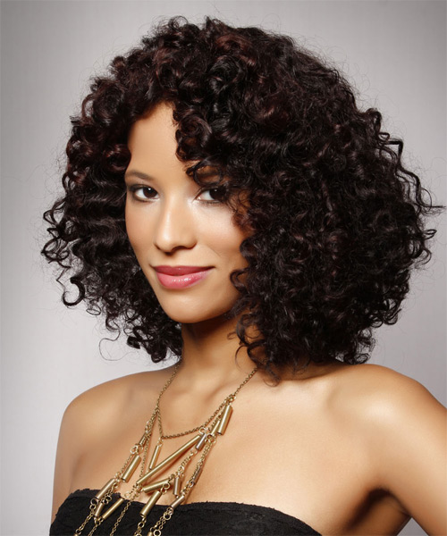 Medium Curly Casual   Hairstyle   - Dark Brunette - Side on View