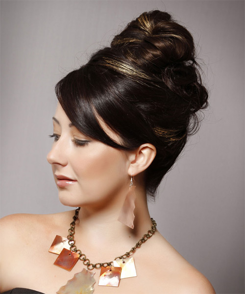 Long Straight Formal   Updo Hairstyle with Side Swept Bangs  - Dark Brunette Hair Color - Side on View